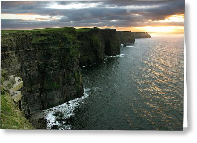 Ireland Photographs Greeting Cards - Sunset at the Cliffs of Moher Ireland Greeting Card by Pierre Leclerc Photography