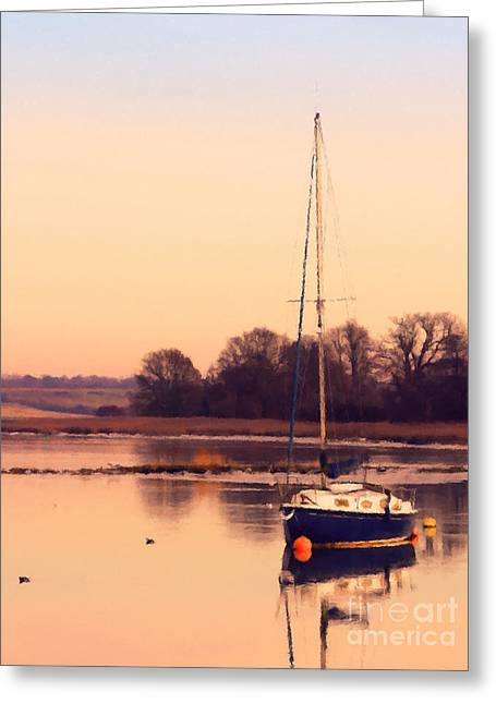 Ocean Sailing Greeting Cards - Sunset at the creek Greeting Card by Pixel Chimp