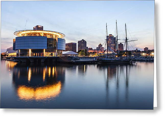 Sunset at the Dock Greeting Card by CJ Schmit