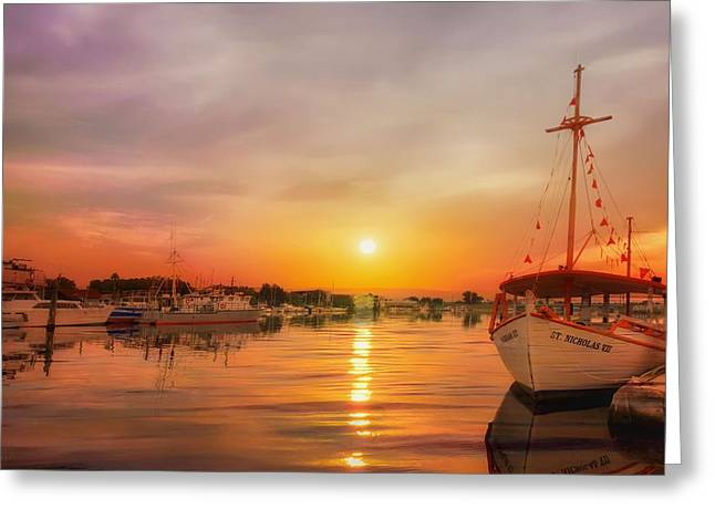 Boats At Dock Greeting Cards - Sunset at the Docks Greeting Card by L Wright