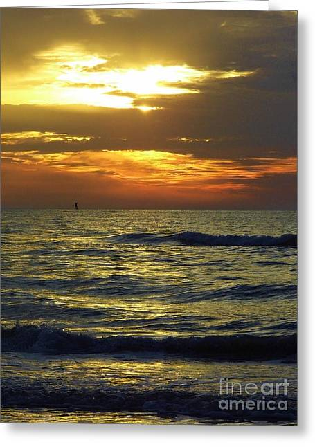 Reflection Of Sun In Clouds Greeting Cards - Sunset At The Gulf Greeting Card by D Hackett