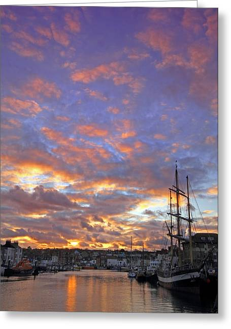 Quay Wall Greeting Cards - Sunset at the Harbour Greeting Card by Ollie Taylor
