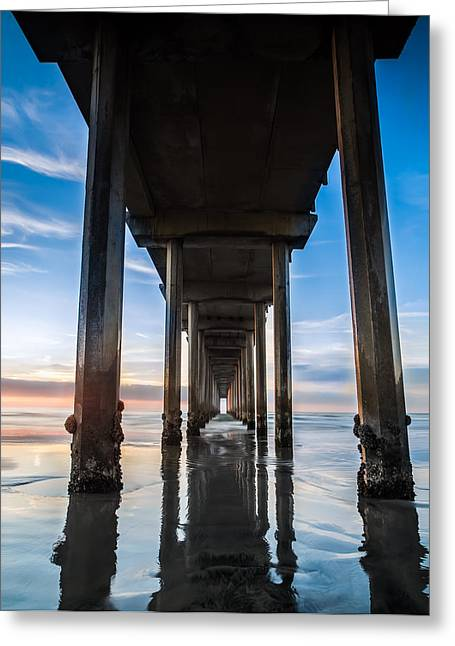 Ocean. Reflection Greeting Cards - Sunset at the Iconic Scripps Pier Greeting Card by Larry Marshall