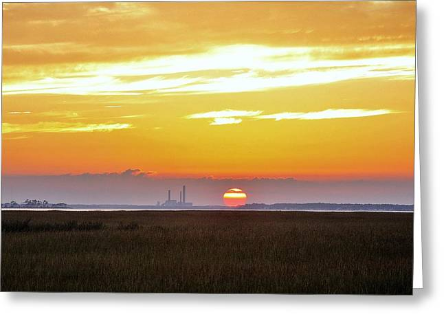 Beach Scene Greeting Cards - Sunset at the Indian River Power Plant Greeting Card by Kim Bemis