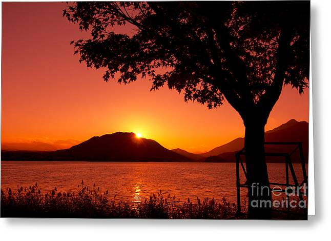 Sunset At The Lake Greeting Card by Beverly Claire Kaiya