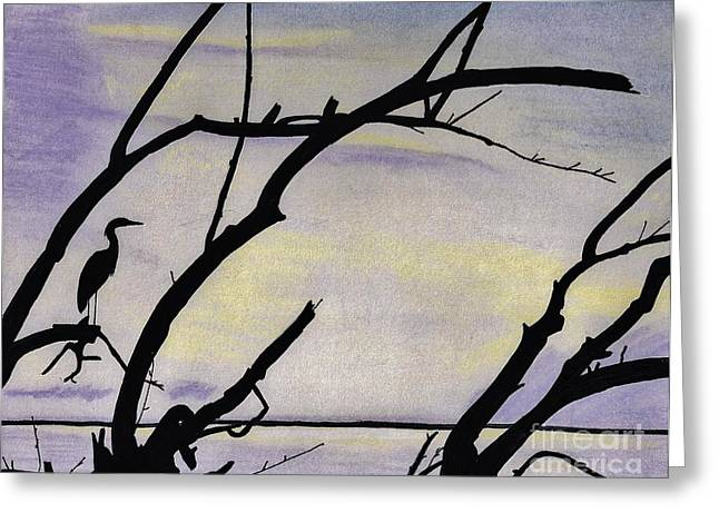 Bird On Tree Drawings Greeting Cards - Sunset - At The - Lake Greeting Card by D Hackett