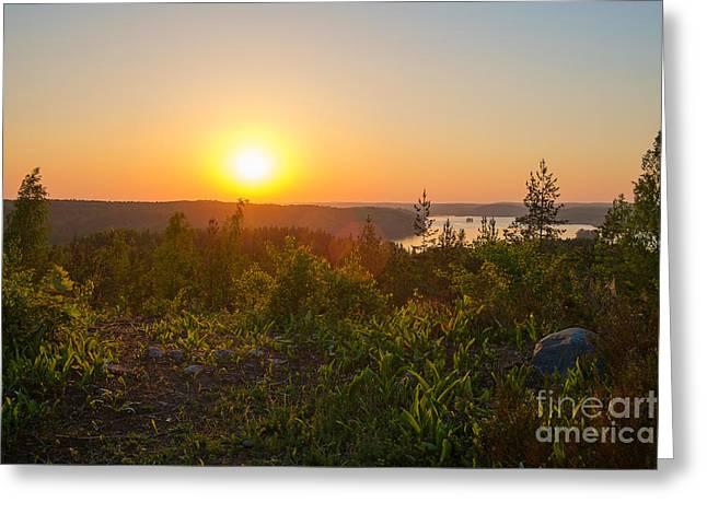Sunset At The Lake Hiidenvesi Greeting Card by Ismo Raisanen