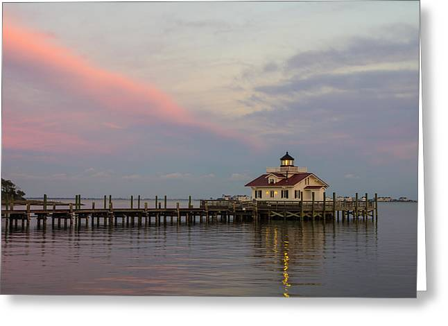 Shallowbag Bay Greeting Cards - Sunset at the Lighthouse Greeting Card by Gregg Southard
