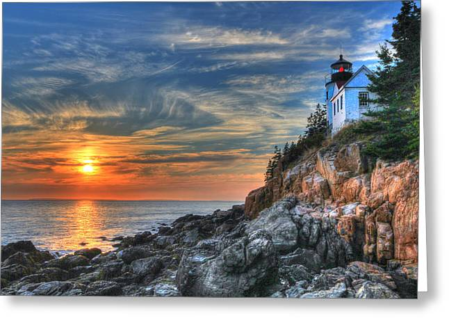 Sharon Batdorf Greeting Cards - Sunset at the Lighthouse Greeting Card by Sharon Batdorf