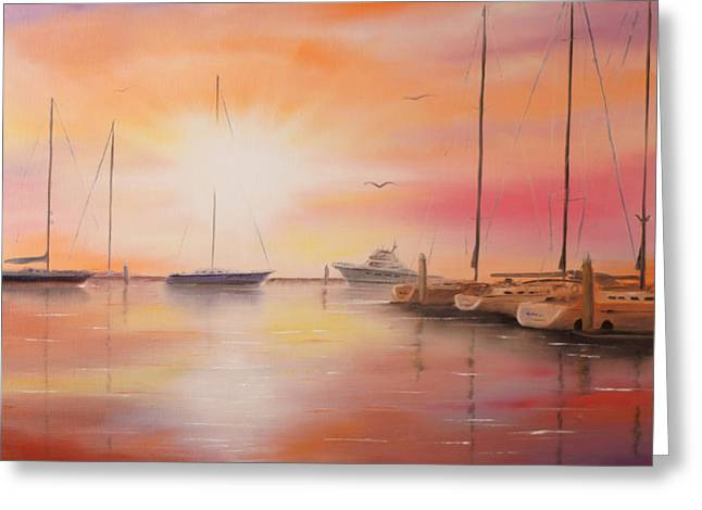 Sailboat Photos Paintings Greeting Cards - Sunset at the Marina Greeting Card by Chris Fraser
