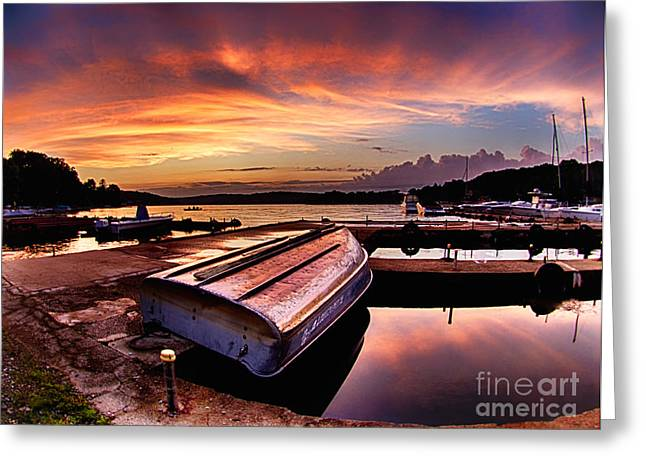 Row Boat Greeting Cards - Sunset at the Marina Greeting Card by Mark Miller