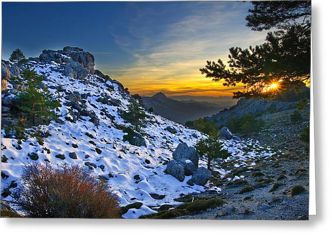 Granada Greeting Cards - Sunset at the mountains Greeting Card by Guido Montanes Castillo