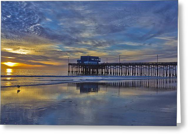 Roller Blades Greeting Cards - Sunset at the Newport Pier Greeting Card by Harold Vaagan