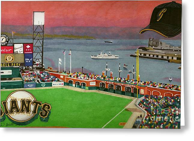 Sf Giants Greeting Cards - Sunset at the Park Greeting Card by Cory Still
