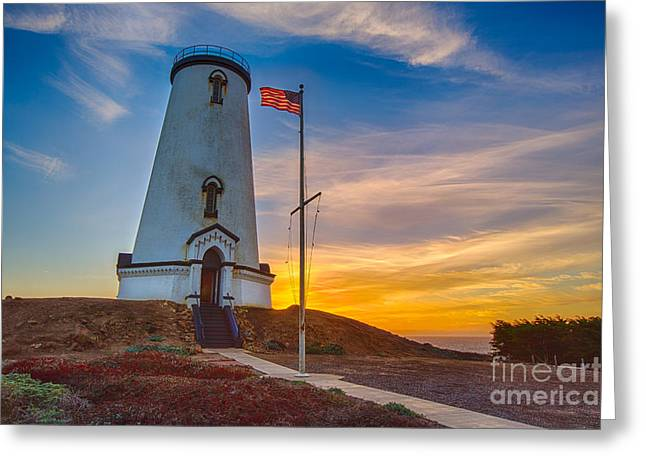 Piedras Blancas Lighthouse Greeting Cards - Sunset At The Piedras Blancas Lighthouse  Greeting Card by Mimi Ditchie