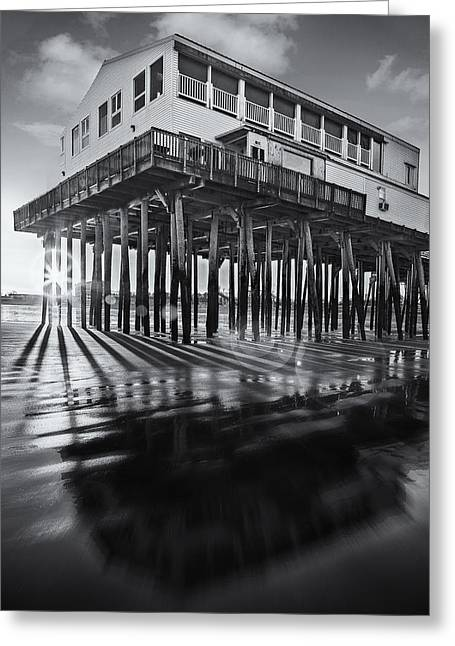 Maine Beach Greeting Cards - Sunset At The Pier BW Greeting Card by Susan Candelario