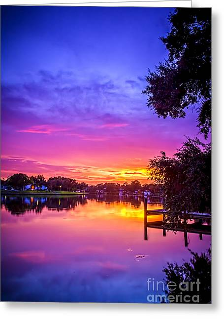Sunset At The Pier Greeting Card by Marvin Spates