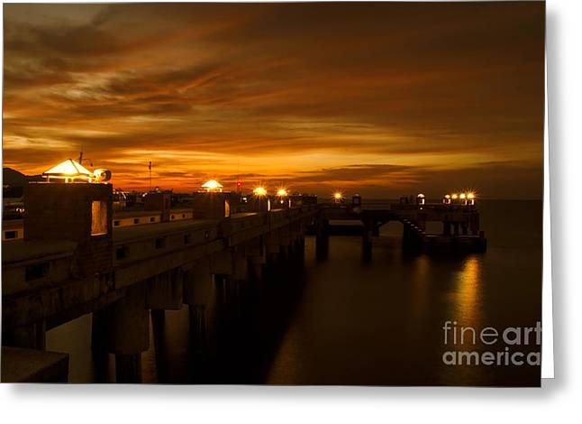 Michelle Greeting Cards - Sunset At The Pier Greeting Card by Michelle Meenawong