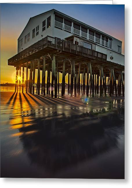 Maine Beach Greeting Cards - Sunset At The Pier Greeting Card by Susan Candelario