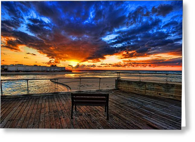 Israeli Digital Greeting Cards - sunset at the port of Tel Aviv Greeting Card by Ron Shoshani