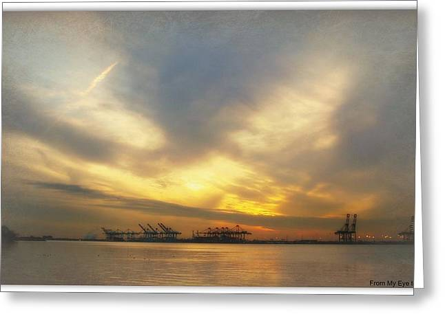 Port Elizabeth Greeting Cards - Sunset at the Port Greeting Card by Veronica Henson