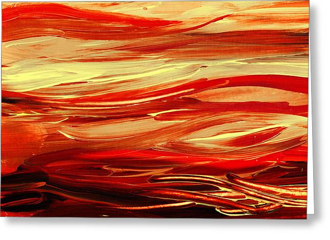 Emotions Greeting Cards - Sunset At The Red River Abstract Greeting Card by Irina Sztukowski