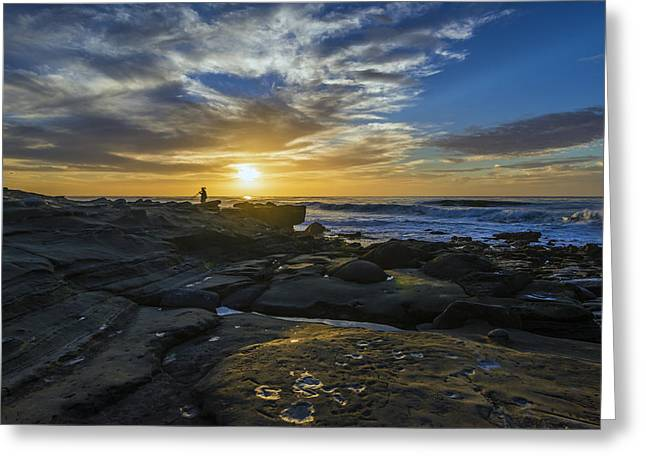 Peaceful Scenery Greeting Cards - Sunset at the Rocks Greeting Card by Joseph S Giacalone