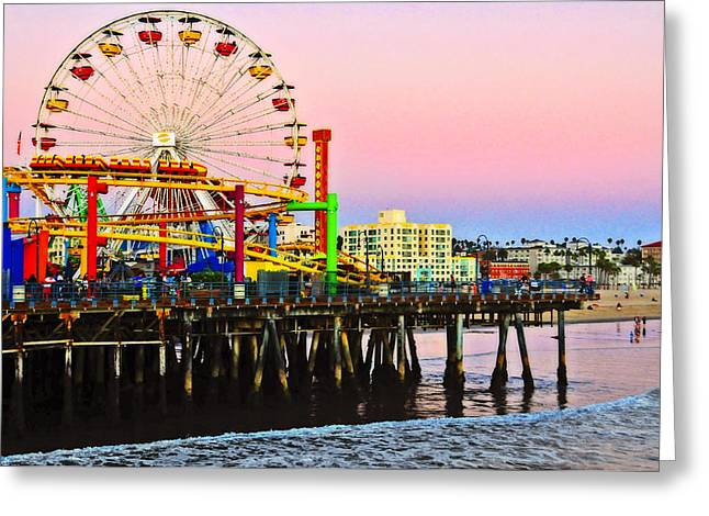 Amusements Greeting Cards - Sunset at the Santa Monica Pier Greeting Card by Lynn Bauer