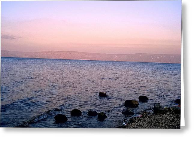 Gospel Of Matthew Greeting Cards - Sunset at the Sea of Galilee Greeting Card by Sandra Pena de Ortiz