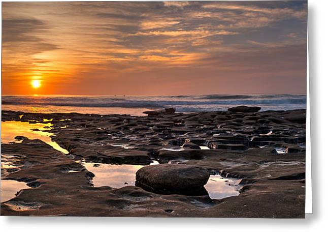 La Jolla Surfers Greeting Cards - Sunset at the Tidepools II Greeting Card by Peter Tellone