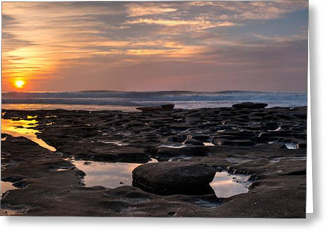 La Jolla Surfers Greeting Cards - Sunset at the Tidepools III Greeting Card by Peter Tellone