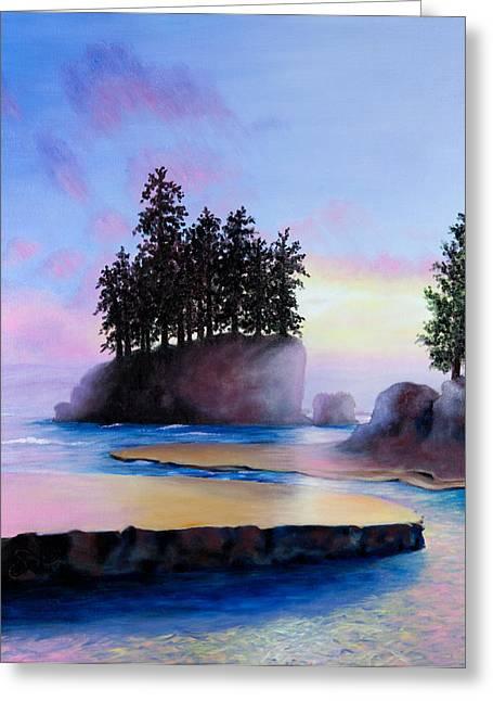 Shelley Irish Greeting Cards - Sunset at Tongue Point Greeting Card by Shelley  Irish