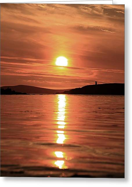Reflections Of Sun In Water Greeting Cards - Sunset At Trondra 2 Greeting Card by Anne Macdonald