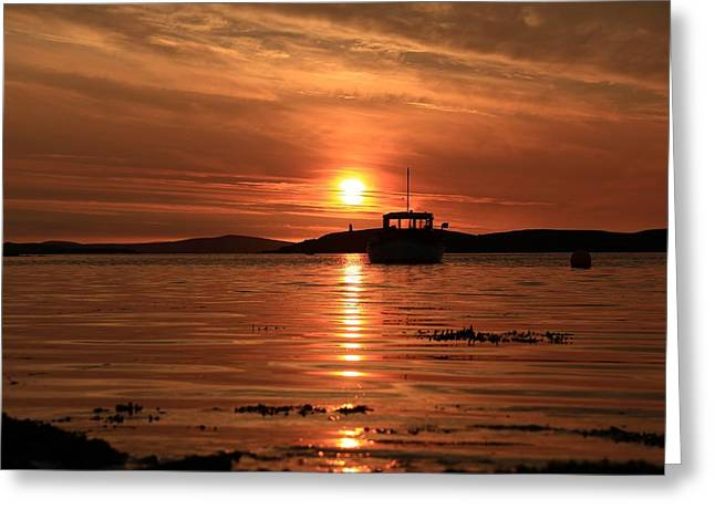 Boats In Reflecting Water Greeting Cards - Sunset At Trondra 3 Greeting Card by Anne Macdonald