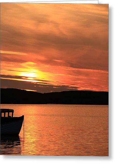 Boats In Reflecting Water Greeting Cards - Sunset At Trondra 4 Greeting Card by Anne Macdonald