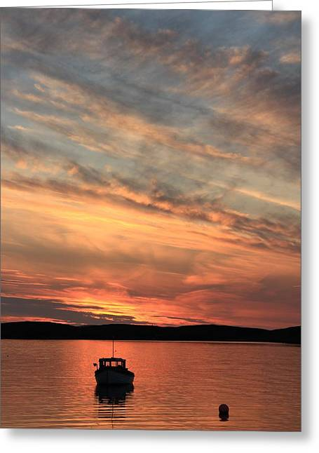Boats In Reflecting Water Greeting Cards - Sunset At Trondra 5 Greeting Card by Anne Macdonald