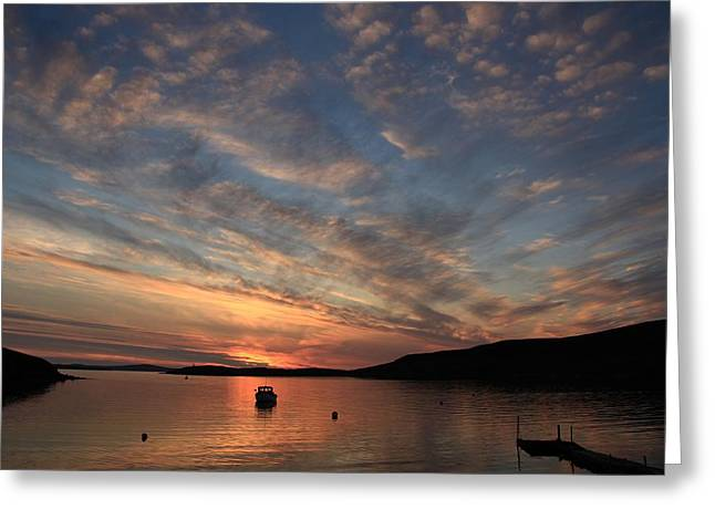 Boats In Reflecting Water Greeting Cards - Sunset At Trondra 6 Greeting Card by Anne Macdonald