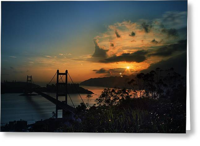 Kowloon Digital Art Greeting Cards - Sunset at Tsing Ma Bridge Greeting Card by Afrison Ma