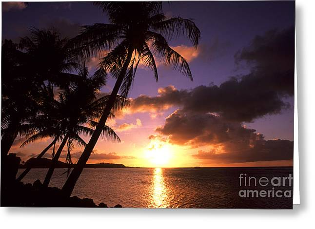 Sunset At Tumon Bay, Guam Greeting Card by Bill Bachmann