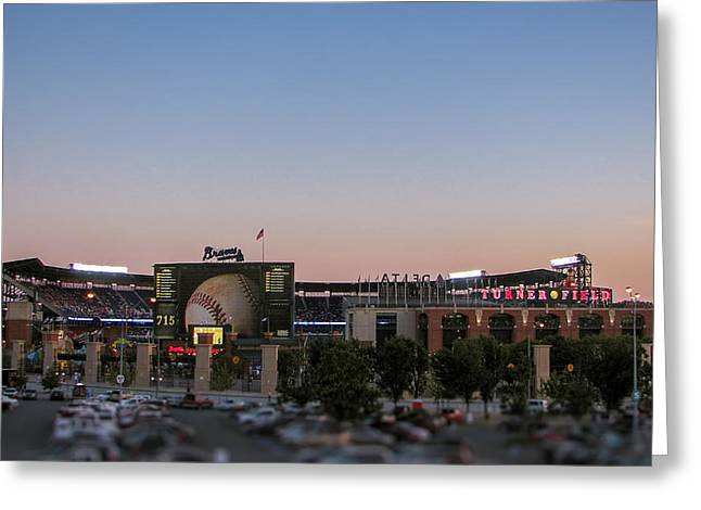 Chipper Greeting Cards - Sunset at Turner Field Greeting Card by Tom Gort