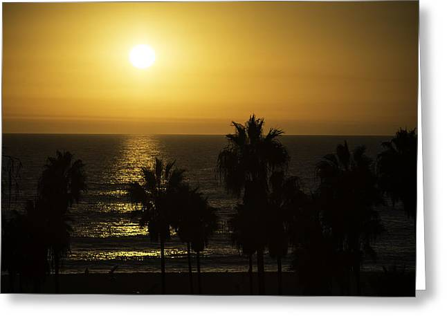 Venice Beach Palms Greeting Cards - Sunset at Venice Beach Greeting Card by Art K