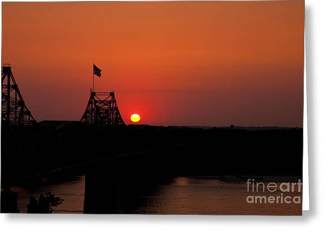 Orange Ball Greeting Cards - Sunset at Vicksburg Greeting Card by T Lowry Wilson