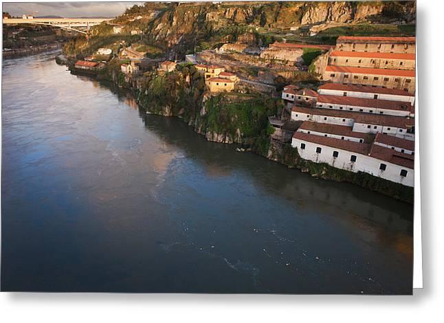 Cellar Greeting Cards - Sunset at Vila Nova de Gaia by Douro River in Portugal Greeting Card by Artur Bogacki