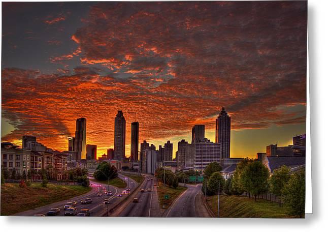 Metropolitan Area Greeting Cards - Sunset Skyline Atlanta Downtown Orange Greeting Card by Reid Callaway