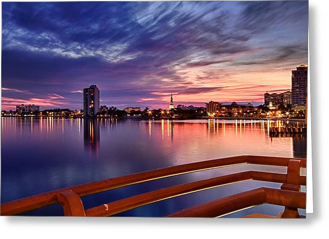 Sunset Balcony of the West Palm Beach Skyline Greeting Card by Debra and Dave Vanderlaan