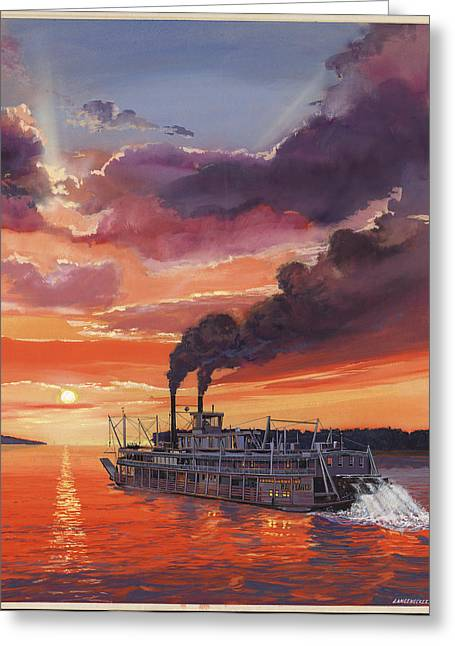 Steam Ship Greeting Cards - Sunset Bald Eagle Steamboat Greeting Card by Don  Langeneckert