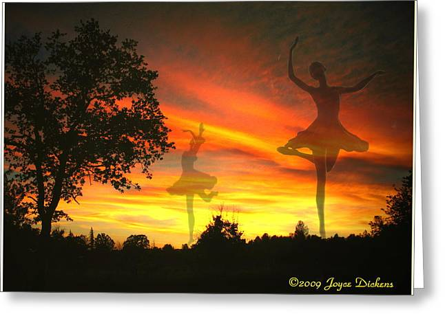 Prima Ballerina Digital Art Greeting Cards - Sunset Ballerina Greeting Card by Joyce Dickens
