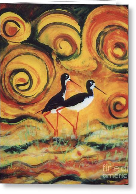 Fauna Glass Art Greeting Cards - Sunset Ballet Greeting Card by Anna Skaradzinska