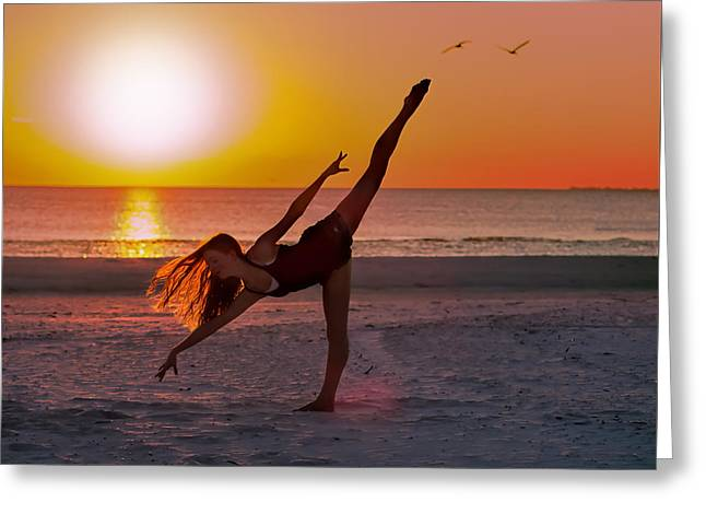 Dancing On The Beach Greeting Cards - Sunset Ballet Greeting Card by Delores Knowles