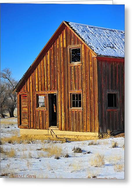 Wyoming Greeting Cards - Sunset Barn Greeting Card by Amanda Smith
